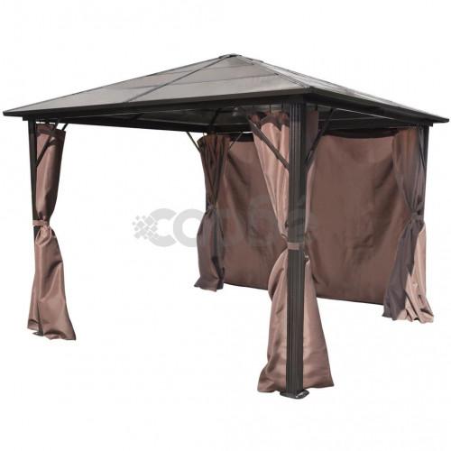Алуминиева шатра с кафяви завеси, 300 х 300 см