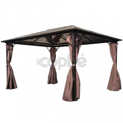 Алуминиева шатра с кафяви завеси, 400 х 300 см