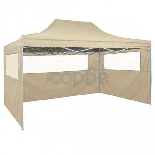 Сгъваема шатра с 4 странични стени, 3х4,5 м, кремавобяла
