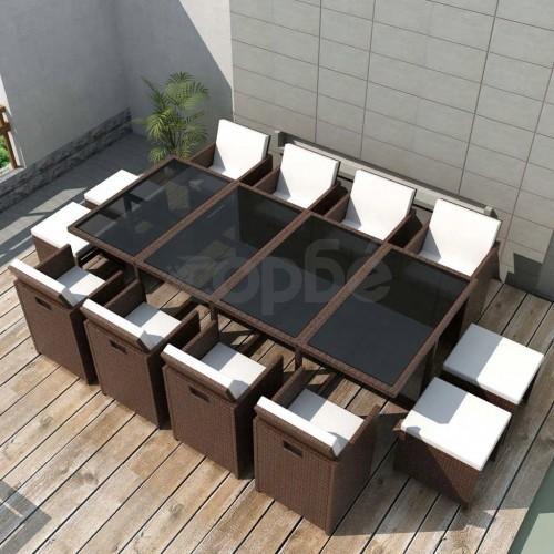 Градински комплект с възглавници, 13 части, кафяв полиратан