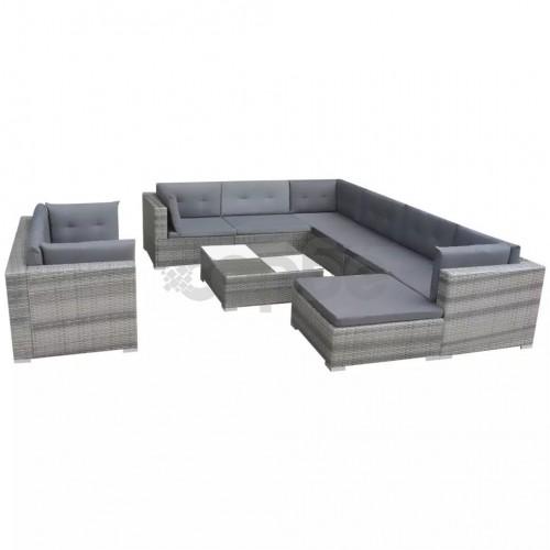 Градински комплект с възглавници, 10 части, полиратан, сив