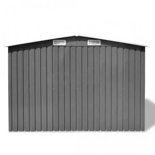 Градинска барака за съхранение, сива, метал, 257x205x178 см