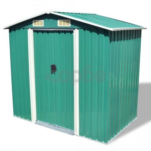 Градинска барака за съхранение, зелена, метал, 204x132x186 см