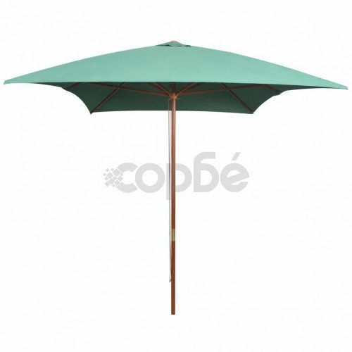 Чадър за слънце, 200x300 см, дървен прът, зелен
