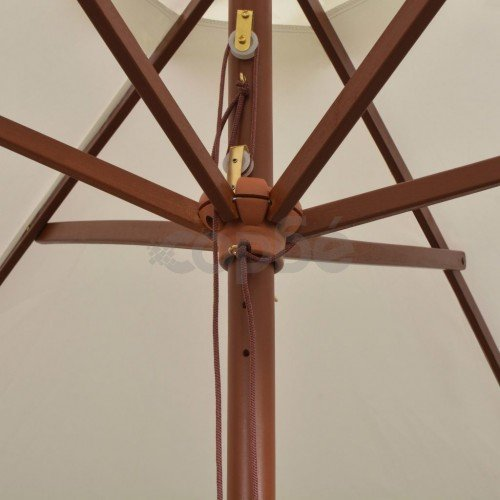 Чадър за слънце, 200x300 см, дървен прът, кремаво бяло