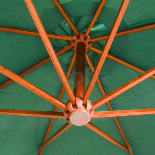 Висящ чадър за слънце, 350 см, дървен прът, зелен
