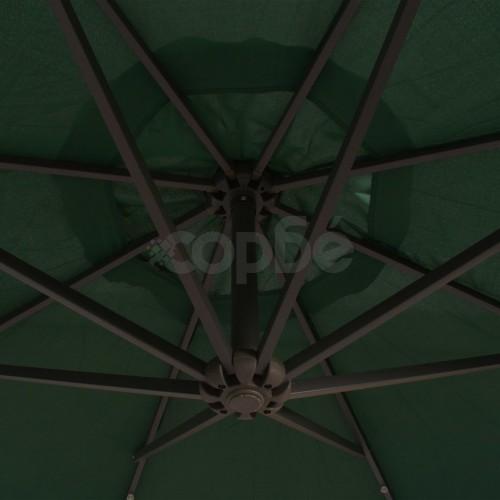 Висящ чадър с LED осветление, 300 см, зелен, метален прът