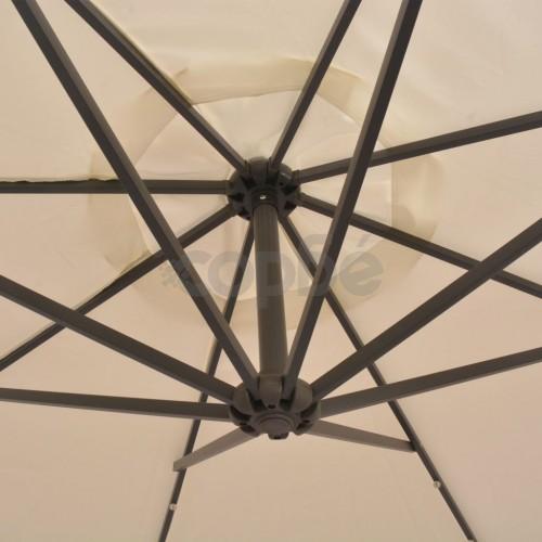 Висящ чадър с LED осветление, 300 см, пясъчен, метален прът