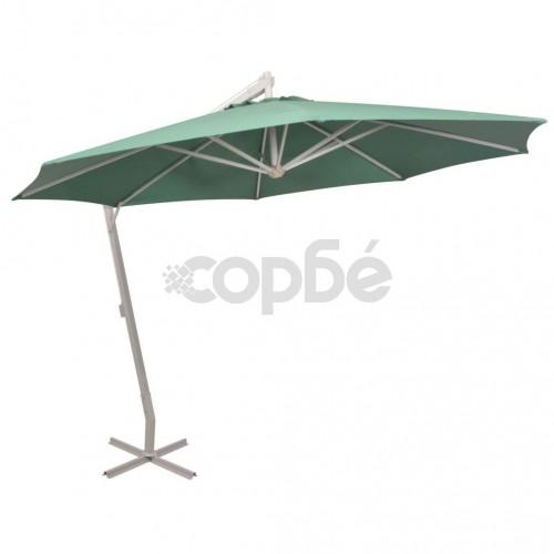 Висящ чадър за слънце, 350 см, алуминиев прът, зелен