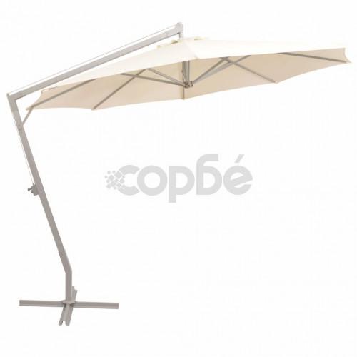 Висящ чадър за слънце, 350 см, алуминиев прът, пясъчен