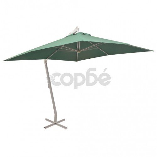 Висящ чадър за слънце, 300x300 см, алуминиев прът, зелен