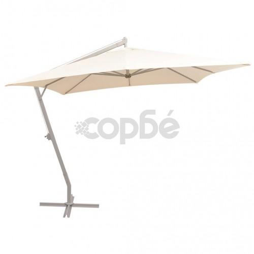 Висящ чадър за слънце, 300x300 см, алуминиев прът, пясъчен