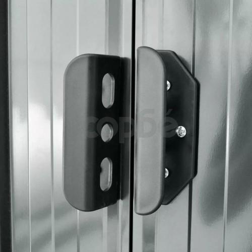 Градинска барака за съхранение, сива, метал, 204x132x186 см