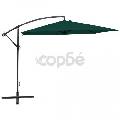 Чадър за слънце, свободновисящ, 3 м, зелен