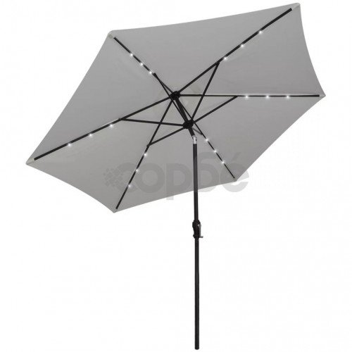 LED чадър за слънце, свободностоящ, 3 м, пясъчно бял