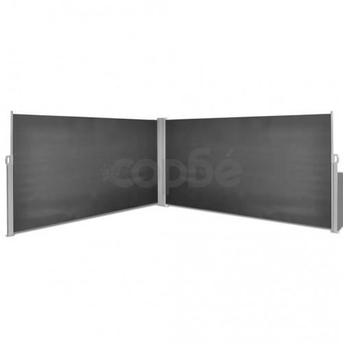 прибираща се странична тента, 160х600 см, черна