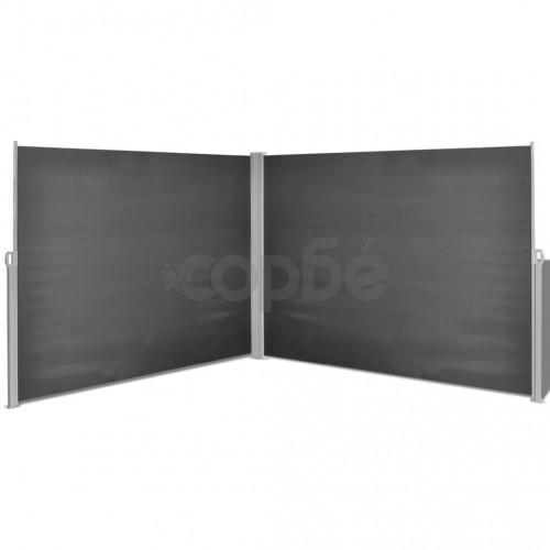 прибираща се странична тента, 180х600 см, черна