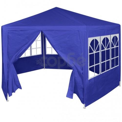 Шатра с 6 странични стени, синя, 2x2 м