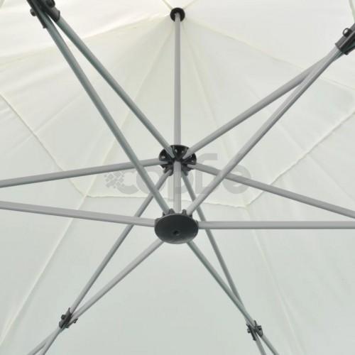 Шестоъгълна сгъваема шатра, кремаво бяла, 3.6x3.1 м