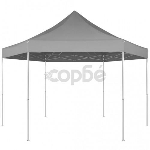 Шестоъгълна pop-up сгъваема шатра, сива, 3,6x3,1 м