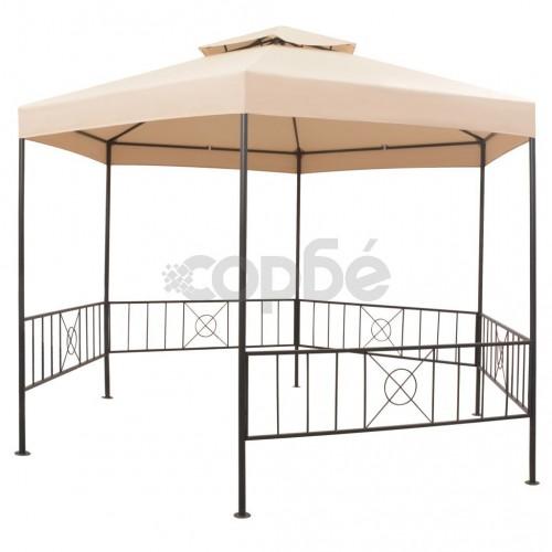 Градинска шатра тип беседка, шестоъгълна, бежова, 323x265 см