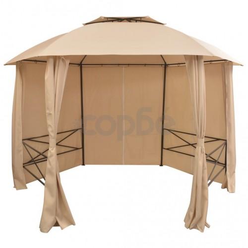 Градинска шатра павилион със завеси, шестоъгълна, 360x265 см