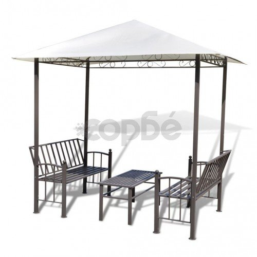 Градинска шатра с маса и пейки, 2,5 x 1,5 x 2,4 м