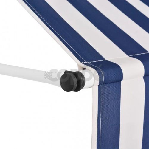 Ръчно прибиращ се сенник, 300 см, синьо-бели ивици