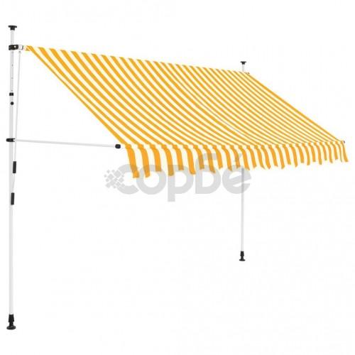 Ръчно прибиращ се сенник, 250 см, жълти и бели ивици