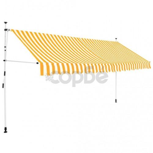 Ръчно прибиращ се сенник, 400 см, жълти и бели ивици