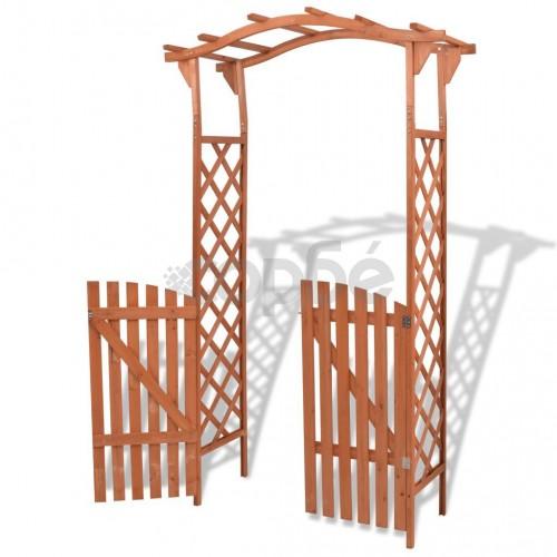 Градинска арка с порта, масивна дървесина, 120x60x205 cм