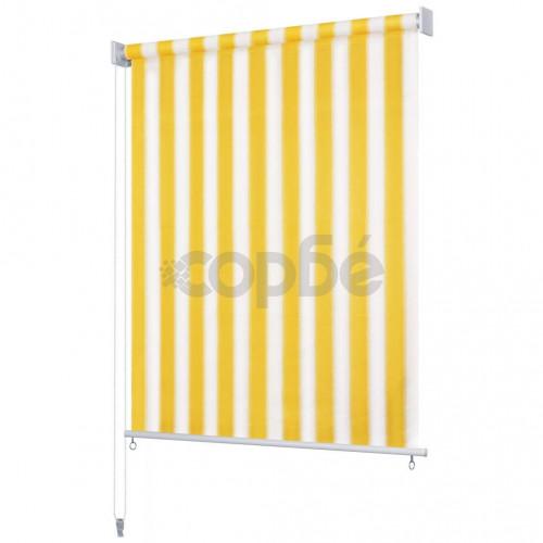 Външна ролетна щора, 140x140 см, жълто-бели ивици