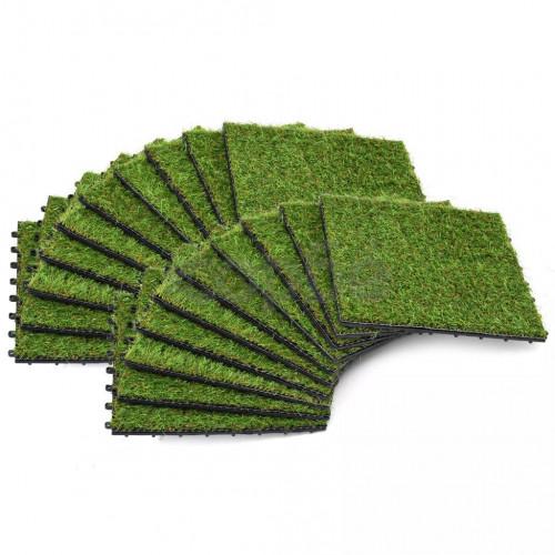 Плочки изкуствена трева, 20 бр, 30x30 см, зелени