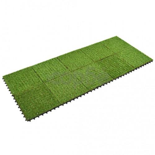 Плочки изкуствена трева, 10 бр, 30x30 см, зелени
