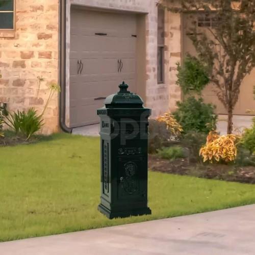 Алуминиева пощенска кутия стълб винтидж стил неръждаема зелена