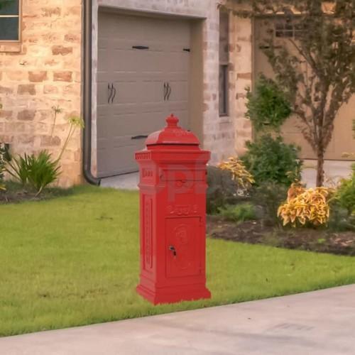 Алуминиева пощенска кутия стълб винтидж стил неръждаема червена