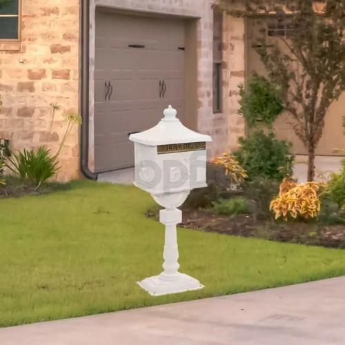 Алуминиева пощенска кутия на стойка винтидж неръждаема бяла