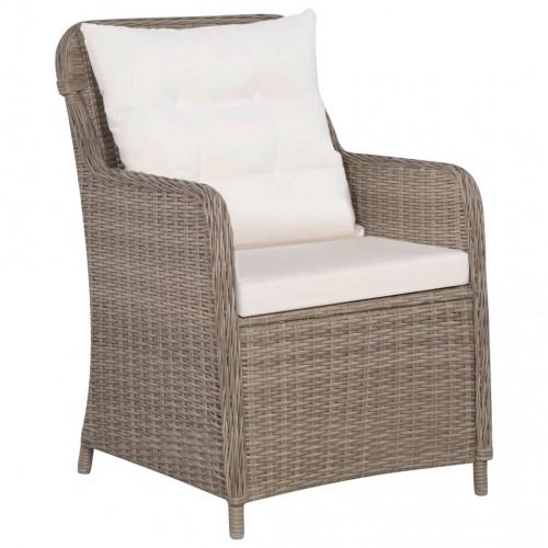 Външни столове с възглавници, 2 бр, полиратан, кафяви