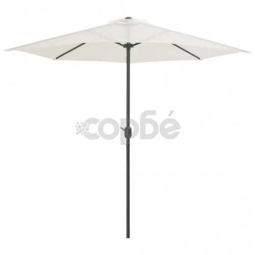 Градински полукръгъл чадър с алуминиев прът 270x135 см пясъчен