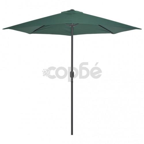 Балконски чадър с алуминиев прът, зелен, 270x135 см, половин