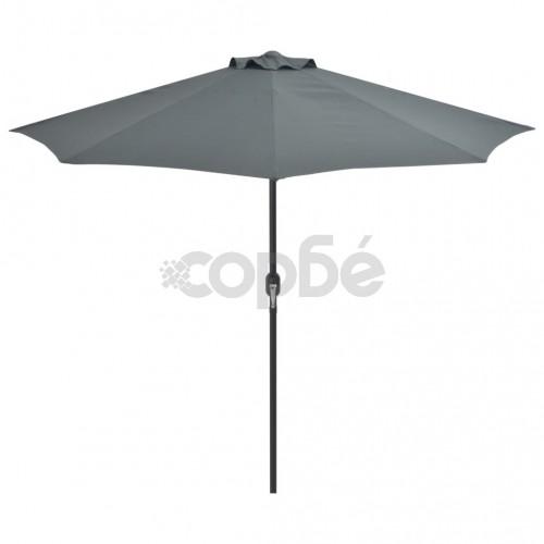 Балконски чадър с алуминиев прът, антрацит, 270x135 см, половин