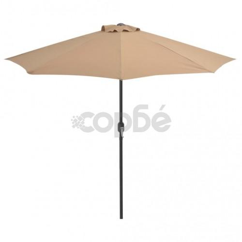 Балконски чадър с алуминиев прът, таупе, 270x135 см, половин