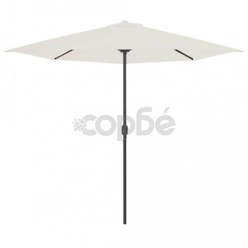 Балконски чадър с алуминиев прът, пясъчен, 300x150 см, половин