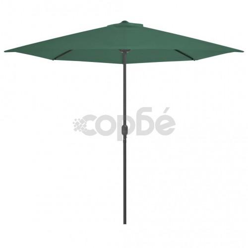 Балконски чадър с алуминиев прът, зелен, 300x150 см, половин