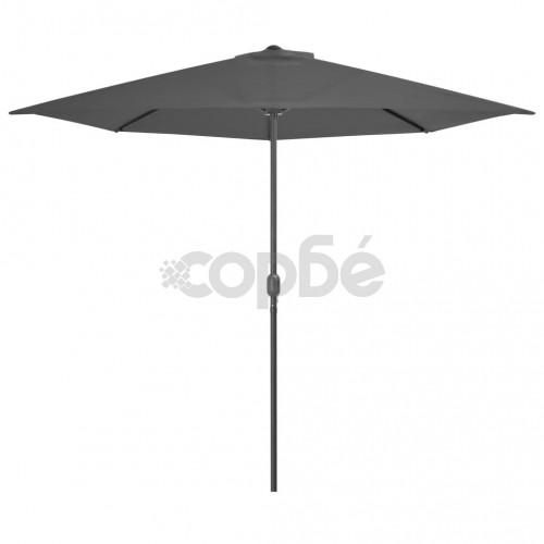 Балконски чадър с алуминиев прът, антрацит, 300x150 см, половин
