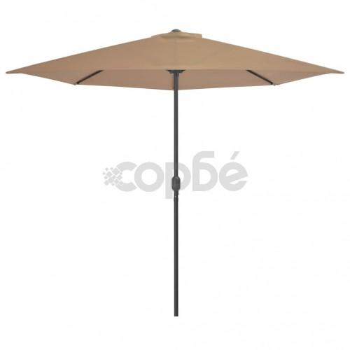 Балконски чадър с алуминиев прът, таупе, 300x150 см, половин