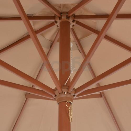 Градински чадър с дървен прът, 300 см, таупе