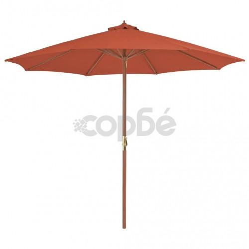 Градински чадър с дървен прът, 300 см, теракота