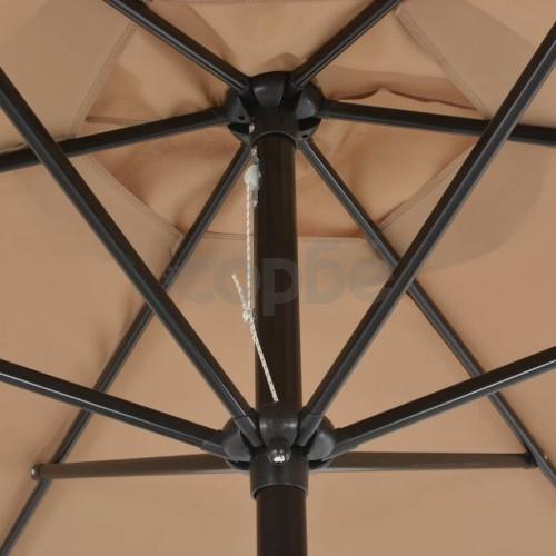 Градински чадър с метален прът, 300 см, таупе