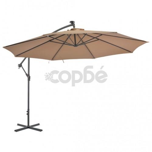 Градински чадър с чупещо рамо и алуминиев прът, 350 см, таупе